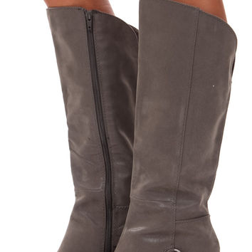 Grey Suede Overlay Boot