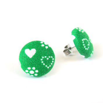 Heart earrings - green button earrings - fabric stud earrings - tiny small earrings white love summer bright