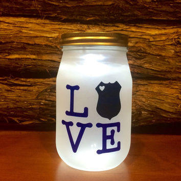 Police LOVE LED light. Custom Police Officer mason jar, Law Enforcement night light, personalized Police Officer Gift, Police Family Gift