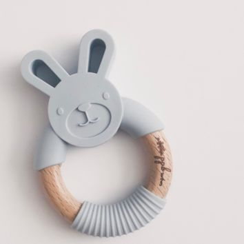 Bunny Ring Teether - Riverstone Grey
