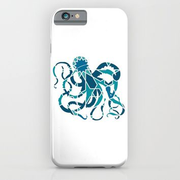 GREAT OCTOPUS SILHOUETTE WITH PATTERN iPhone & iPod Case by deificus Art