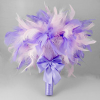 Bridal Bouquet, Bridesmaids Bouquet, Wedding Bouquet, Feather Bouquet, Pink Feather Bouquet, Lavender Bouquet
