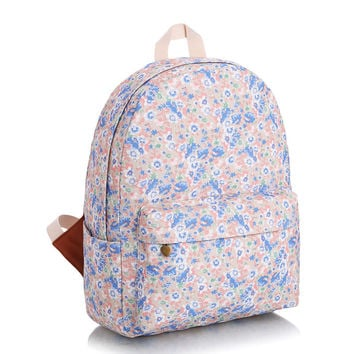 Stylish Casual Floral Canvas Travel Fashion Backpack = 4888061316
