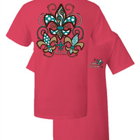 Southern Couture Scalloped Fleur De Lis Polka Dot Coral Girlie Bright T Shirt
