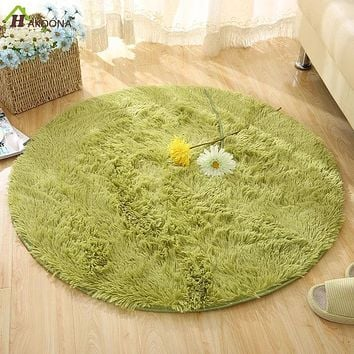 Round Solid Color Carpet For Living Room