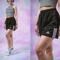 vtg 90's adidas black shorts, active athletic sports, 1990s vintage urban outfitters american apparel tumblr fashion vaporwave aesthetic