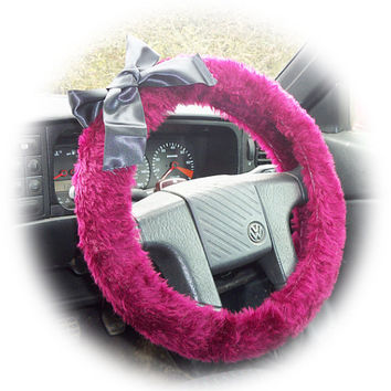 Burgundy steering wheel cover dark red wine with Black satin bow halloween goth faux fur fluffy fuzzy furry car maroon auburn
