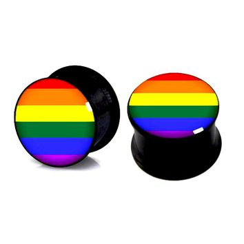 Rainbow Gay LGBTQ Pride Colorful Acrylic Stainless Steel Plugs Gauges 6-16mm 1 pair