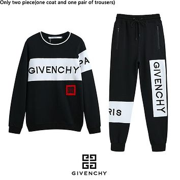 Givenchy hot selling fashion couples patchwork color letters embroidery Logo hoodie set Black