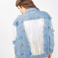 MOTO White Organza Oversized Jacket - Denim - Clothing