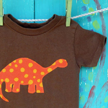 Orange Dinosaur Appliqued Tshirt, Short Sleeve Brown Shirt, Sizes 2t, 3t, 4t, 5/6, 7, MADE-TO-ORDER