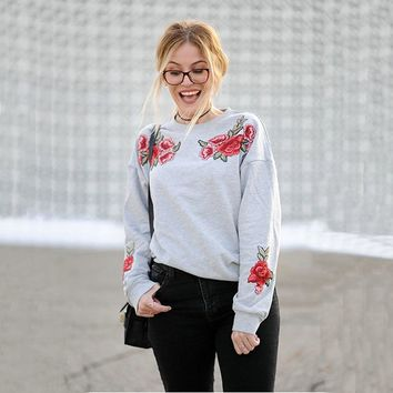 Floral Embroidery Women's Fashion Hoodies [256934117402]