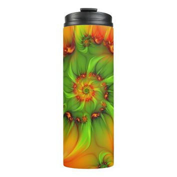 Hot Summer Green Orange Abstract Colorful Fractal Thermal Tumbler