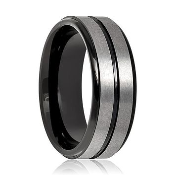 Aydins Tungsten Mens Wedding Band Gun Metal Brushed w/ Black Groove 8mm Tungsten Carbide Ring