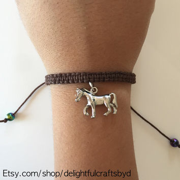 Hemp bracelet, adjustable macrame brown horse charm bracelet