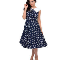 Hell Bunny 1950s Style Navy Blue & White Flat Collar Bird Print Ada Swing Dress