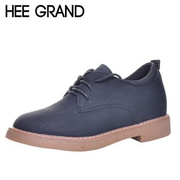 HEE GRAND Women Flat Platform Cut outs Thick Bottom Shoes Casual Woman British Style Footwear XWD5966