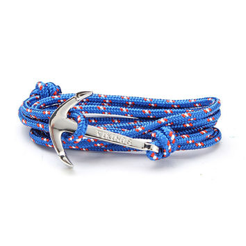 Multilayer Umbrella Rope Alloy Silver Anchor Bracelet Adjustable