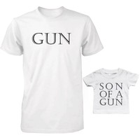 Daddy and Baby Matching T-Shirt and Infant T-shirt Set - Gun and Son of A Gun