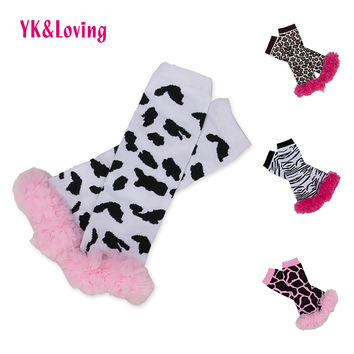 Fashion Socks Baby Leggings Children Girls Tights Leopard with Lace Ruffle Leg Warmers  Cotton Girl Knee Protector 2017