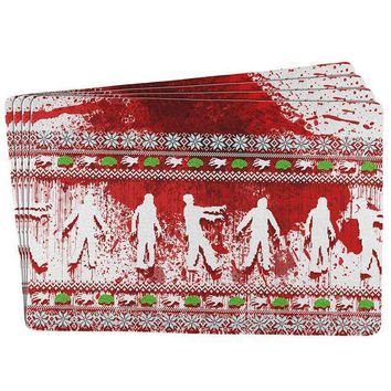 PEAPGQ9 Ugly Christmas Sweater Bloody Zombie Attack Survivor All Over Placemat (Set of 4)