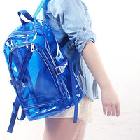Transparent Clear Plastic Waterproof Backpack for Teenage Girls PVC School Bags Shoulders Bag