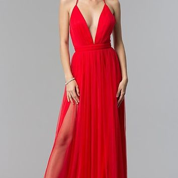 Long Tulle Formal Prom Dress with Low V-Neck