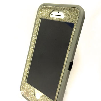 iPhone 6 (4.7 inch) OtterBox Defender Series Case Glitter Cute Sparkly Bling Defender Series Custom Case  gray / white gold