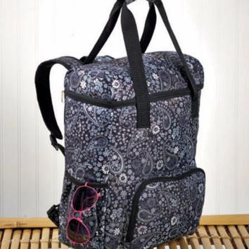 Backpack Insulated Cooler Tote Large Portable Paisley Print Picnic Sports Camp