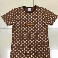 Louis Vuitton x Supreme LV Shirt Fashion Print With Embroider Monogram Short Sleeve Tee Top hoodie B-GQHY-DLSX
