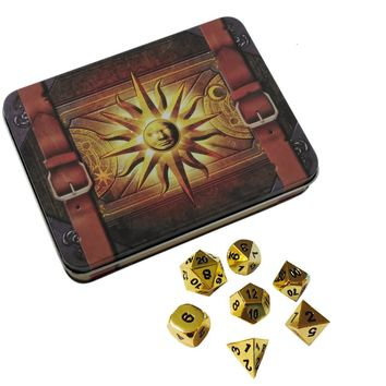 Cleric's Prayer Book with Gold Color with Black Numbering Metal Dice