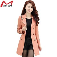 Trench Coat Women 2017 Spring Autumn Especially Female Double-Breasted Long Coats Overcoat Outwear Windbreaker Raincoat YL034