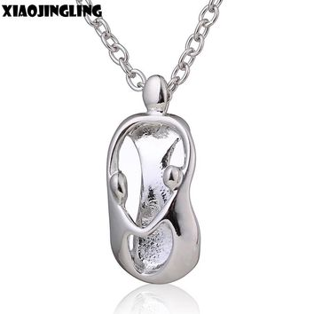 XIAOJINGLING Mother +2 Baby Pendant Necklace Three-Dimensional Trendy Long Necklace Women Mothers Day Gift Metal Silver Chain