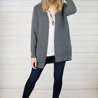 Chilly Charcoal Open Cardigan