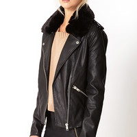 Ultra Chic Faux Leather Moto Jacket