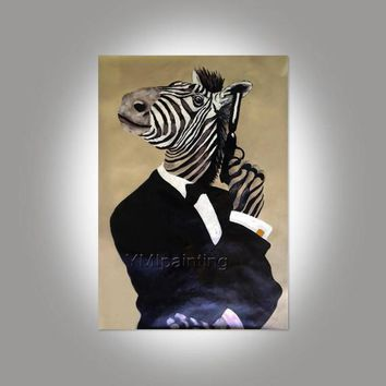 Zebra canvas painting acrylic pet painting pop art anilmal portrait Wall Art pictures for living room home decor hand-made abstract painting