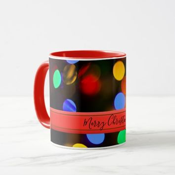 Multicolored Christmas lights. Add text or name. Mug