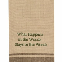 Cabin Lake and Lodge Decor - Embroidered Cotton Kitchen Dish Towel (What Happens in the Woods)