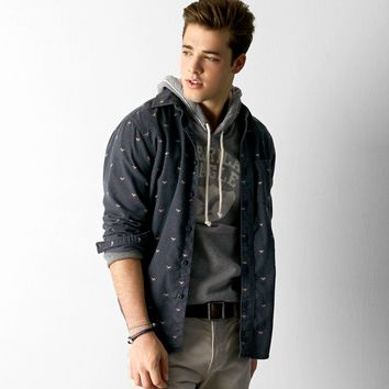 AEO Heritage Flannel Shirt, Charcoal | American Eagle Outfitters