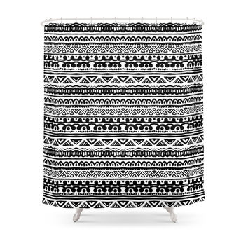 Society6 Ethnic Stripes In Black And White Shower Curtains
