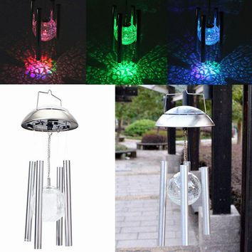 Solar Color Changing Stainless Steel Glass Ball Light Wind Chime Outdoor Garden