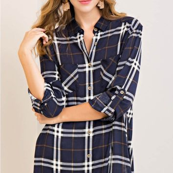 Check Print Button-Down Tunic Top