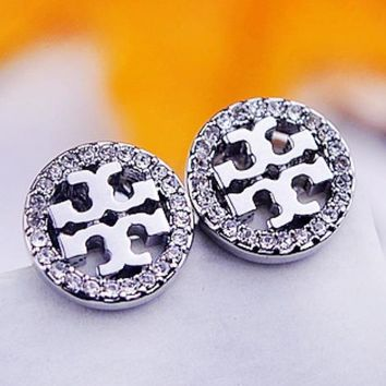 Tory Burch Fashion New Diamond Round Hollow Earring Accessories Women Silver