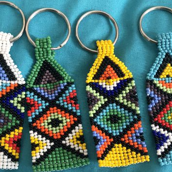 Ndebele Patterned Beaded Keyrings