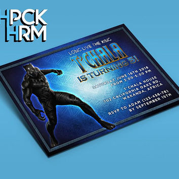 The Black Panther  Invitation Birthday Inivtation Avengers by THPCKHRM Printable Etsy, The Black Panther, The Black Panther Printable