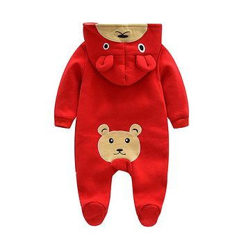 Cute Bear Ear Hooded Baby Rompers For Babies Boys Girls Clothes Newborn Clothing Infant Costume Baby Jumpsuit Outfits