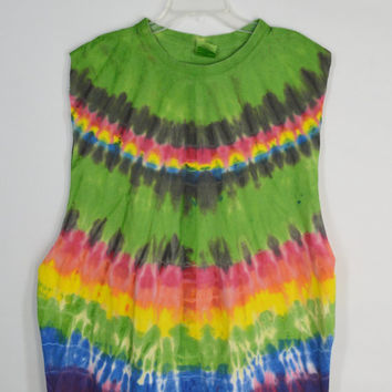 Tie Dye Shirt Sleeveless Tank Hippie Rasta Soft Grunge Rainbow XL Unisex Mens Womens Handmade Clothing Oversize Large Swimsuit Cover Slouchy