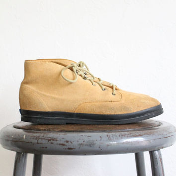 Vintage 80s Tan Suede Keds Ankle Boots // Lace Up Leather Boots Sz. 9
