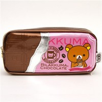 Rilakkuma pencil case with chocolate coffee embossment - Pencil Cases - Stationery
