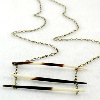 handmade porcupine quill necklace antiqued bronze by FindingBrooke